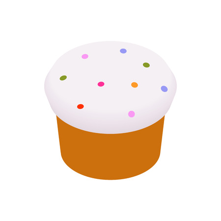 an easter cake: Easter cake glazed with icing and raisins isometric 3d icon on a white background