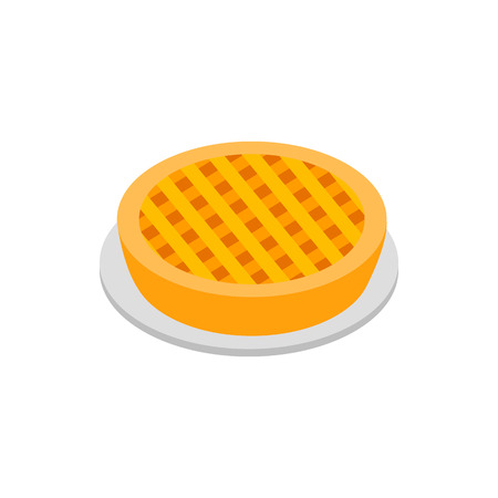 apple pie: Apple pie isometric 3d icon on white background Illustration