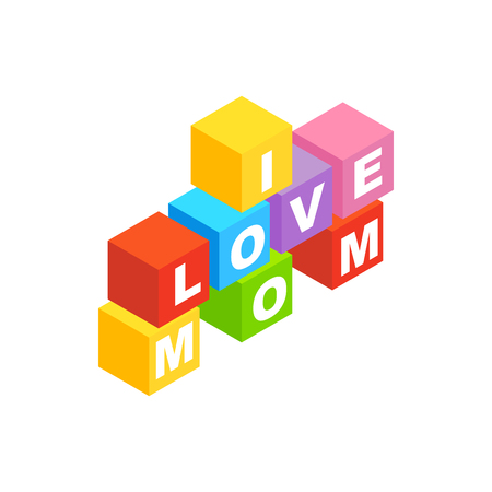 desk toy: Blocks spelling the words I love mom isometric 3d icon on a white background