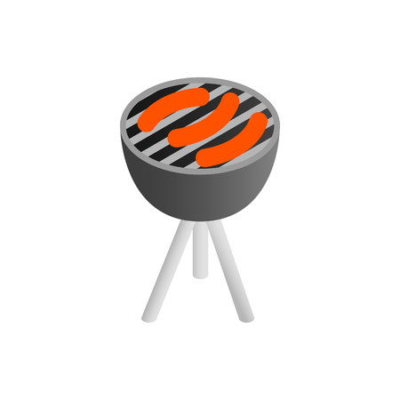 coals: Sausages grilling over the coals on a portable barbecue isometric 3d icon on white background