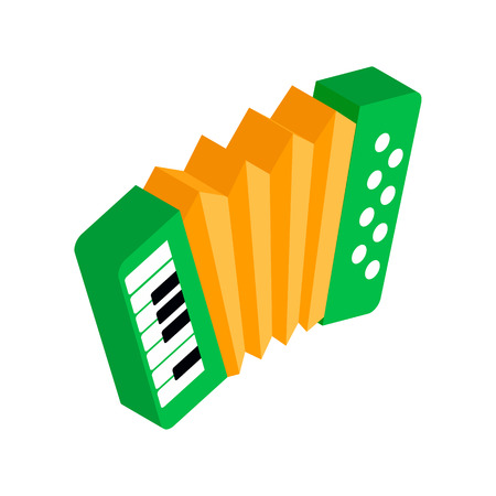 bellows: Green accordion with yellow bellows isometric 3d icon on a white background