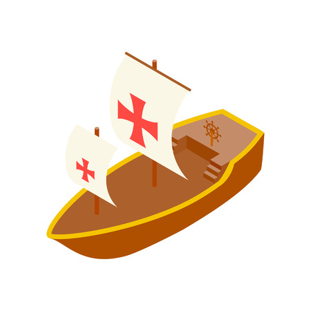 christopher columbus: Columbus day ship isometric 3d icon on a white background