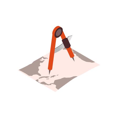 Divisori su un grafico isometrico icona nautica 3d su uno sfondo bianco