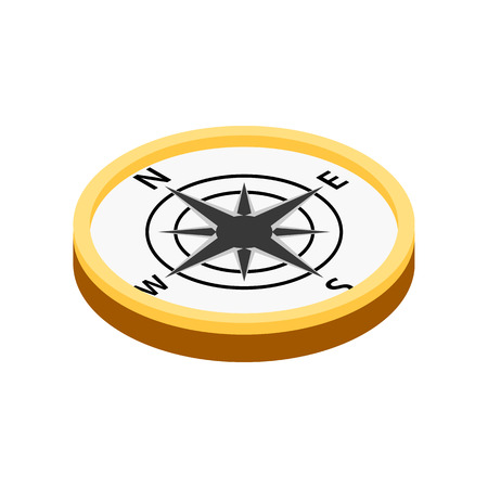 old compass: Compass isometric 3d icon on a white background Illustration