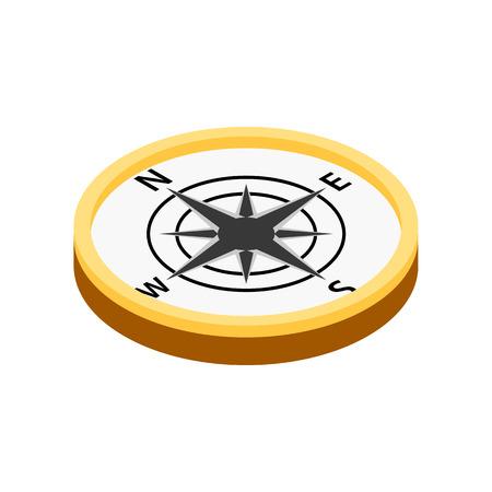 Kompass isometrische 3D-Symbol auf weißem Hintergrund