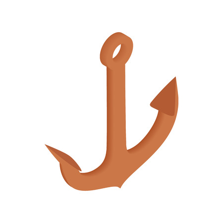 anchored: Old anchor isometric 3d icon on a white background