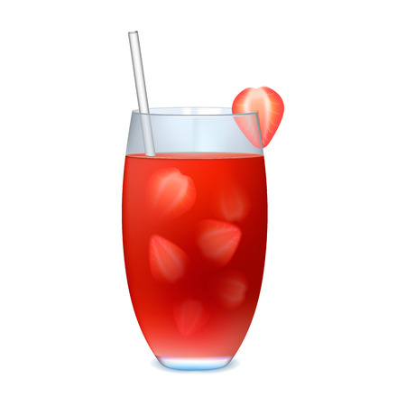 alcohol drinks: Fresh summer strawberry cocktail on a white background