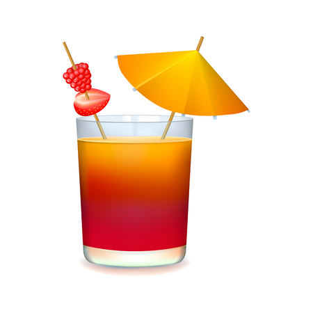 alcohol drinks: Colorful cocktail with umbrella on a white background Illustration