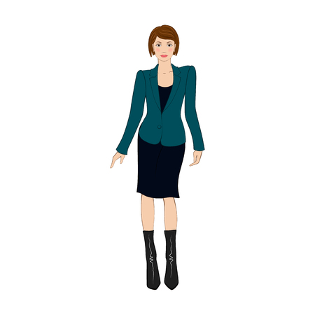businesswoman skirt: Women in elegant office clothes flat icon on a white background Illustration