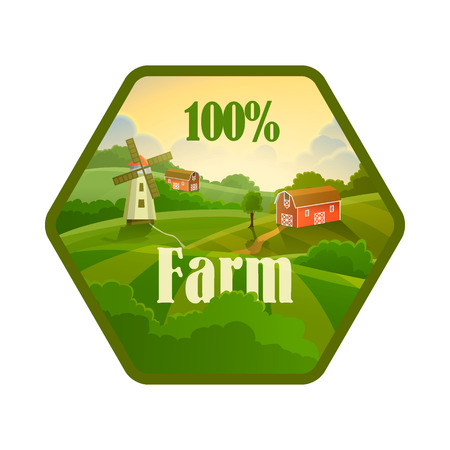 clean food: Green label of healthy natural farm fresh food flat icon on a white background