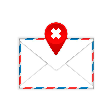 cross mark: Envelope with a red cross mark flat icon on a white background Illustration