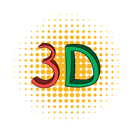 stereoscope: 3D word written in red and green color comics icon on a white background