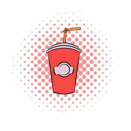 cold drinks: Red cardboard cup with a straw comics icon on a white background Illustration