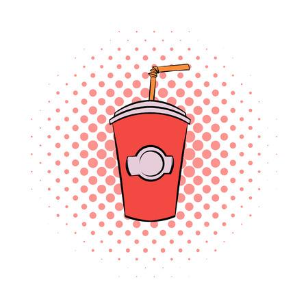bebidas frias: vaso de cart�n de color rojo con un icono de la paja c�mics sobre un fondo blanco