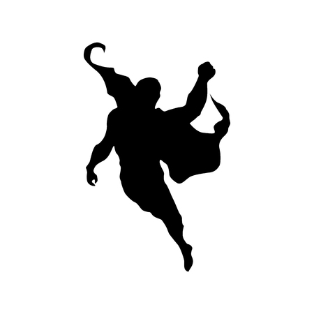 Superhero man silhouette isolated on white background