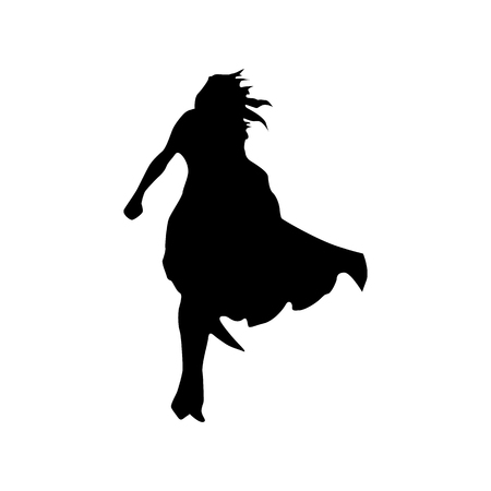 protector: Superhero woman silhouette isolated on white background