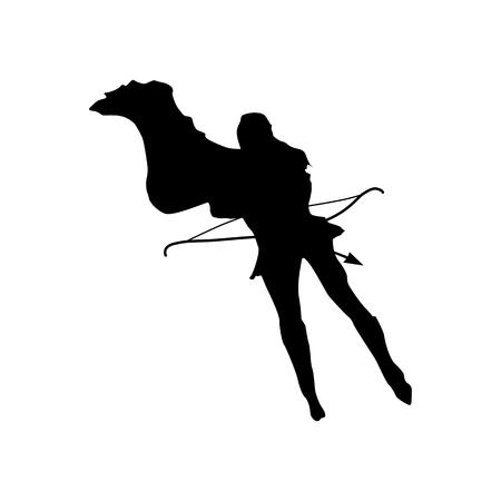 tough woman: Superhero woman silhouette isolated on white background