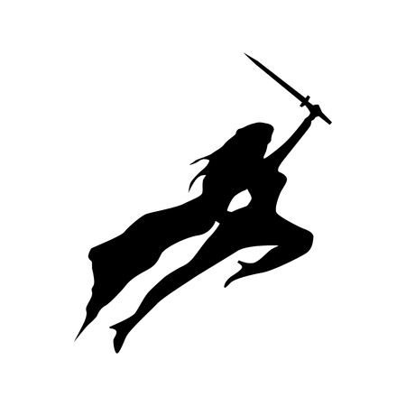powerful: Superhero woman silhouette isolated on white background