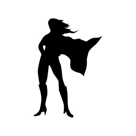 Superhero woman silhouette isolated on white background