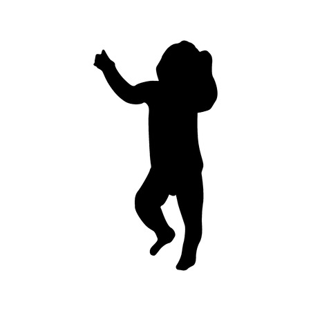 Baby black silhouette isolated on white background