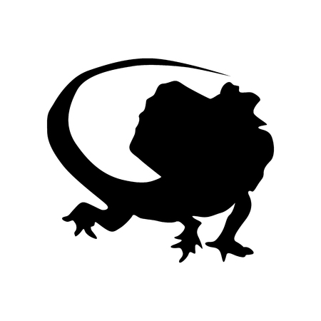 Lizard silhouette noire isolé sur fond blanc Vecteurs