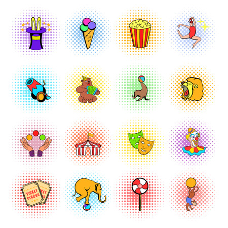 carnival tent: Circus comics icons set isolated on white background