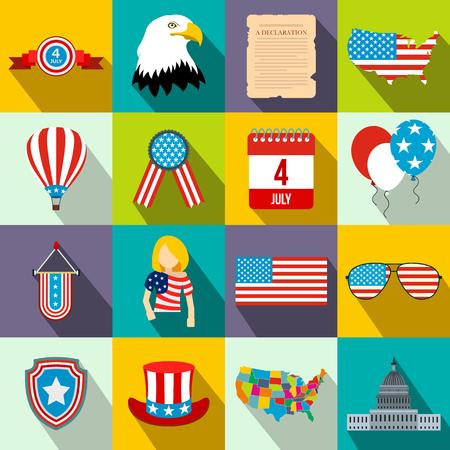 independencia: iconos planos del día de independencia establecidos para los dispositivos móviles y la web Vectores