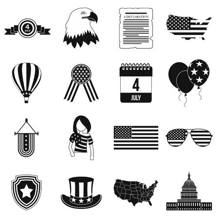 independencia: iconos simples negras día de la independencia conjunto aislado sobre fondo blanco