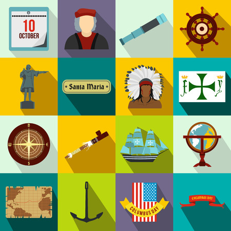 christopher columbus: Happy Columbus Day flat icons set for web and mobile devices