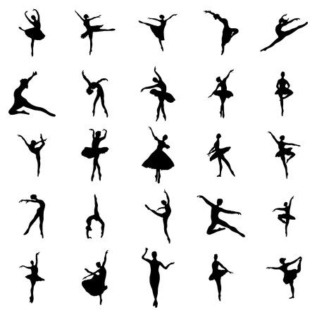 Ballerina silhouetten die geïsoleerd op een witte achtergrond