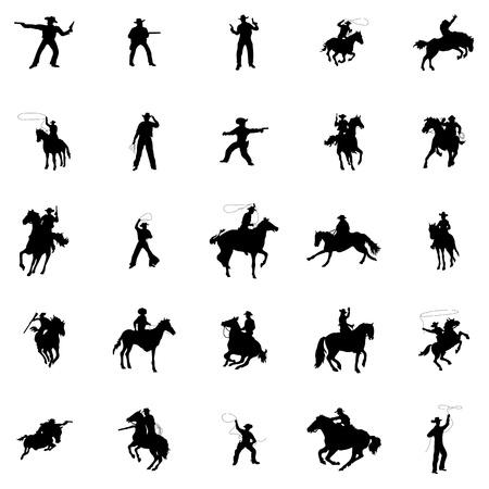 sagome Cowboy impostare isolato su sfondo bianco Vettoriali