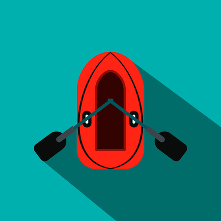 oars: Red inflatable boat with oars flat icon on a blue background