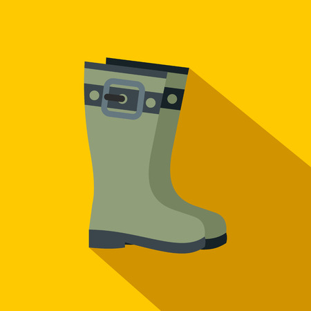 galoshes: Rubber boots flat icon on a yellow background