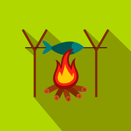 open flame: Fresh fish above fire flat icon on a green background Illustration