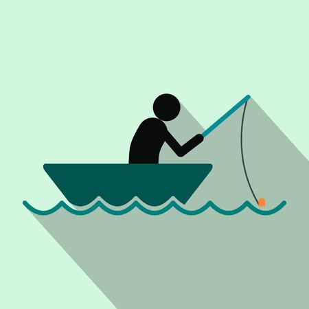 Pêcheur dans une icône plat en bateau sur un fond bleu clair