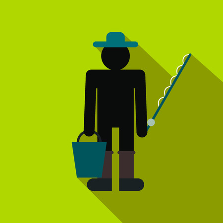 fisher man: Fisherman with bucket and fishing rod flat icon on a green background