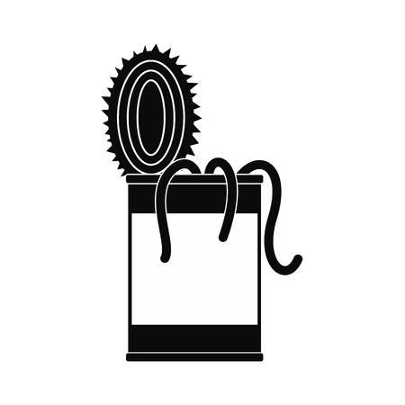 wriggle: Tin of earthworms black simple icon isolated on white background