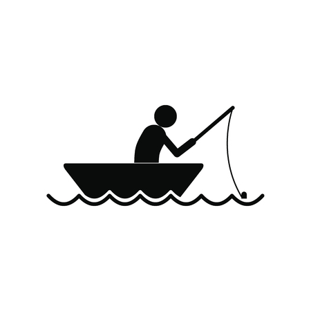 row boat: Fisherman in a boat black simple icon isolated on white background