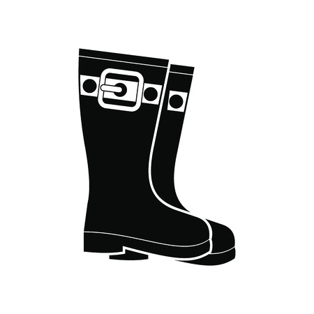 rubber boots: Rubber boots black simple icon isolated on white background