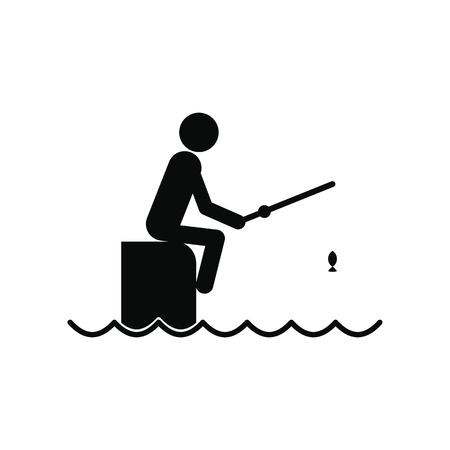 jetty: Fisherman sitting on pier with rod black simple icon