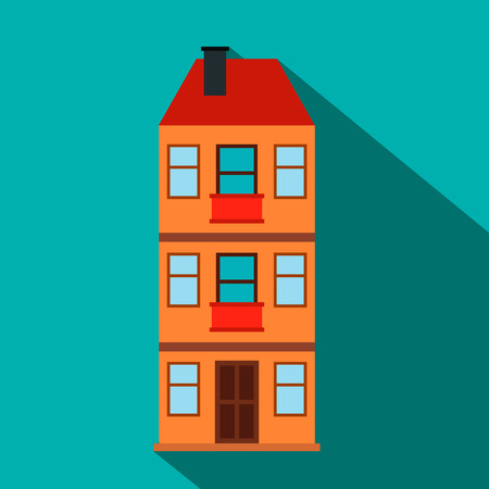 Three-storey house flat icon on a blue background