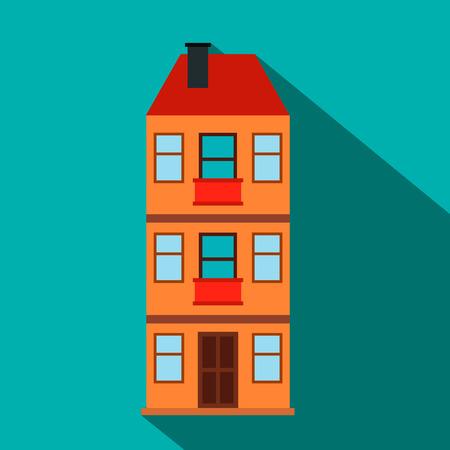 single dwelling: Three-storey house flat icon on a blue background