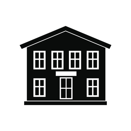 two storey: Two-storey house black simple icon isolated on white background