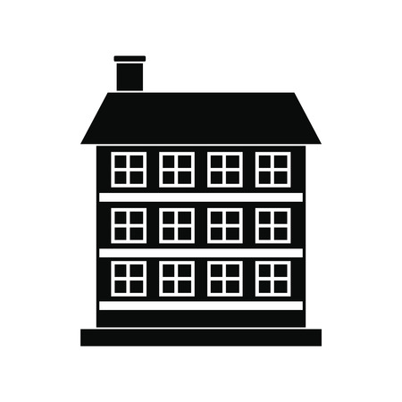 porch: Three-storey house black simple icon isolated on white background