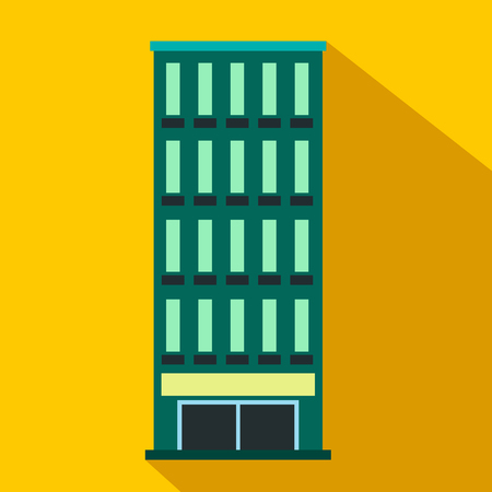 suburban street: Modern building flat icon on a yellow background