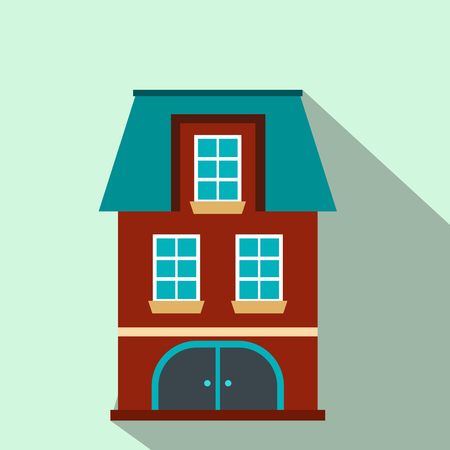 mansard: House with a mansard and garage flat icon on a light blue background