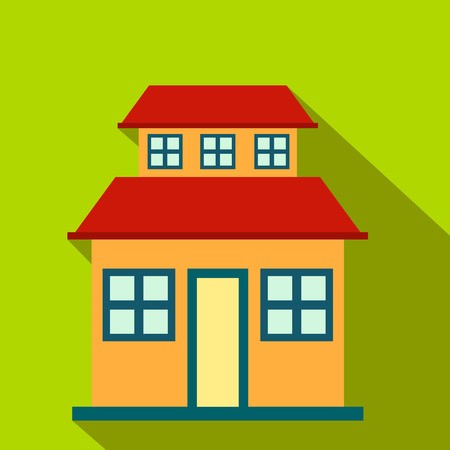 porch: Cottage with a mansard flat icon on a green background