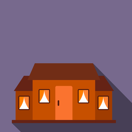 front porch: Small brown cottage flat icon on a violet background
