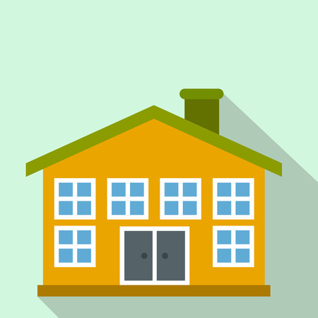 two storey house: Yellow two-storey house flat icon on a light blue background