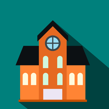 mansard: House with a mansard flat icon on a blue background